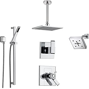 Delta Arzo Chrome Shower System With Thermostatic Shower Handle, 6 Setting  Diverter, Modern