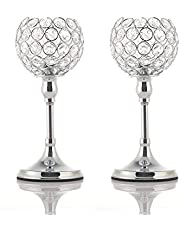 VINCIGANT 2Pcs Silver Crystal Candle Holders for Dining Table, Coffee Table, Holiday Decor Candlestick Centerpiece (10 Inches Tall)