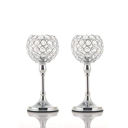 VINCIGANT 2PCS Silver Crystal Candle Holders/Candlesticks for Valentines Day Wedding Anniversary Dinning Table Centerpieces Thanksgiving Gifts,10 Inches Tall