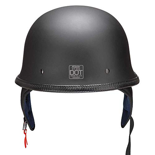 German Style Motorcycle Half Helmet Open Face DOT Approved Skull Cap Cruiser Chopper Scooter Biker Black Size L