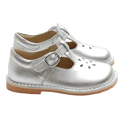 (L'Amour Toddler Girl Silver T Strap Buckle Flower Cut Out Dress Shoe 6)