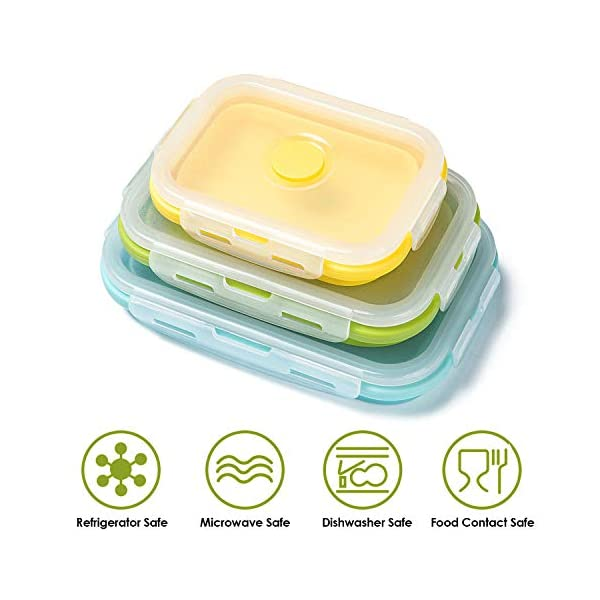 41dmR fyZIL Czemo Faltbare Frischhaltedosen Silikon Zusammenklappbaren Container, Bento Lunchboxen, Faltbare Brotbox, Camping…