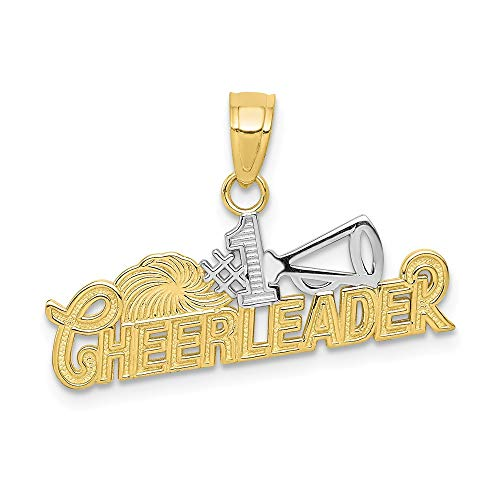 10k Yellow Gold #1 Cheerleader Pendant Charm Necklace Sport Cheerleading Fine Jewelry Gifts For Women For Her ()