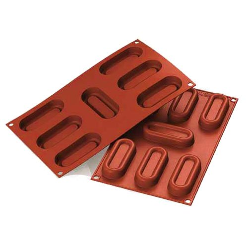 Silikomart Professional Silicone Mold Log Savarin 1.4 Oz, 1-1/2'' x 3-1/4'' x 5/8'' High, 7 Cavities