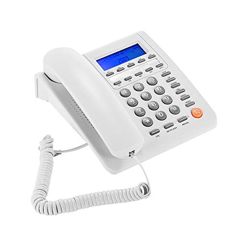 - Aibecy Desktop Corded Standard Phone Fixed Phone LCD Display Telephone for House Home Call Center Office Company Hotel, White