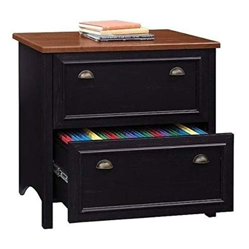 Bowery Hill 2 Drawer Lateral Wood File Cabinet in Distressed Black and Cherry, Full-Extension Drawers