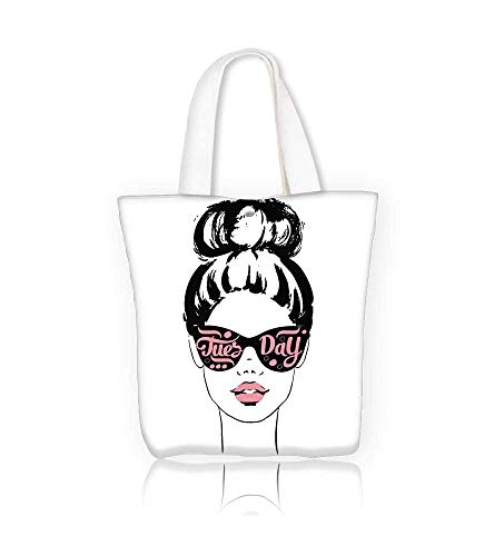 Canvas Tote Bags Women face with sunglasses Tuesday Design Your Own Party Favor Pack Tote Canvas W15xH14xD4.7 INCH