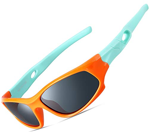 Daddy Frame Color Child (ATTCL Kids Hot TR90 Polarized Sports Sunglasses For Boys Girls Child Age 3-10 5025-orange-green)