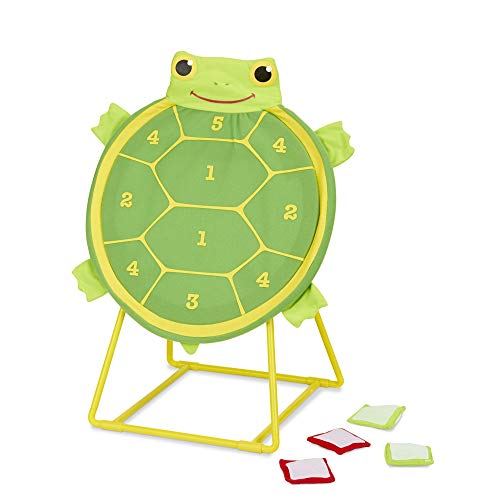 Target Toss Game - Melissa & Doug Tootle Turtle Target Game, Active Play & Outdoor, Two Color Bean Bags, Self-Sticking Bean Bags, 22