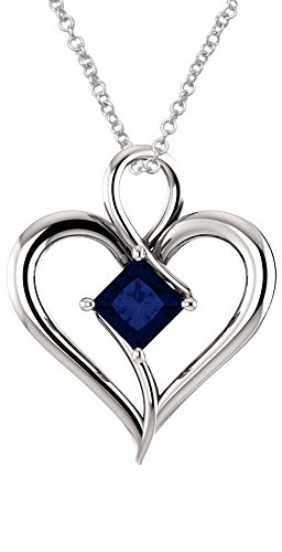 Amazon #DealOfTheDay: Silver 5mm Created Sapphire Heart Pendant with Chain