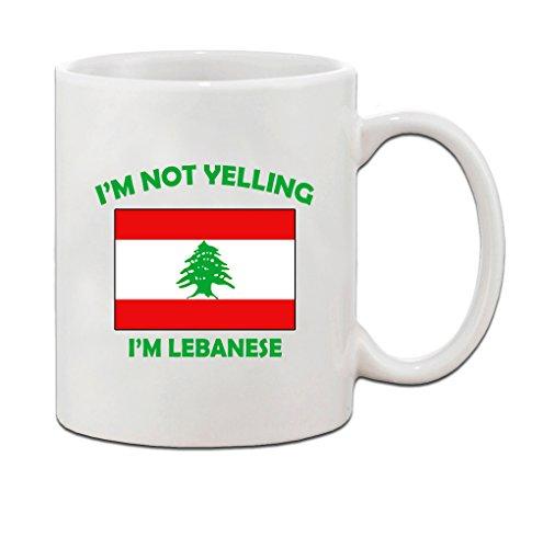 I'M Not Yelling, I Am Lebanese Lebanon Lebanese Ceramic Coffee Tea Mug Cup - Holiday Christmas Hanukkah Gift for Men & Women