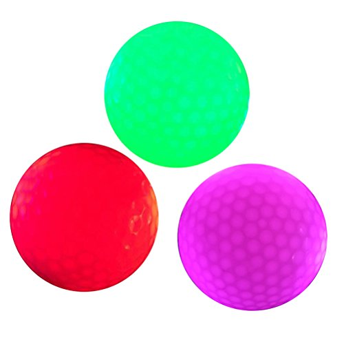 WINOMO 3Pcs Luminous Night Golf Balls LED Light Up Golf Balls Bright Night Glow Bright Long Lasting Reusable Night Golf Ball -