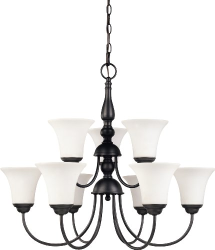 Nuvo Lighting 60/1923 Dupont 9-Light Two Tier Chandelier with Satin White Glass, 28