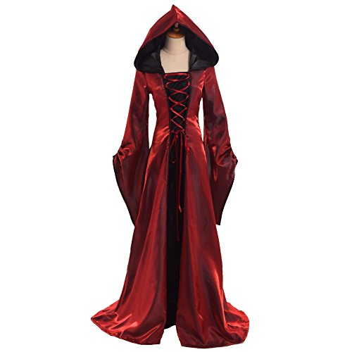 BLESSUME Gothic Renaissance Women Hooded Dress (Hooded Renaissance Dress)