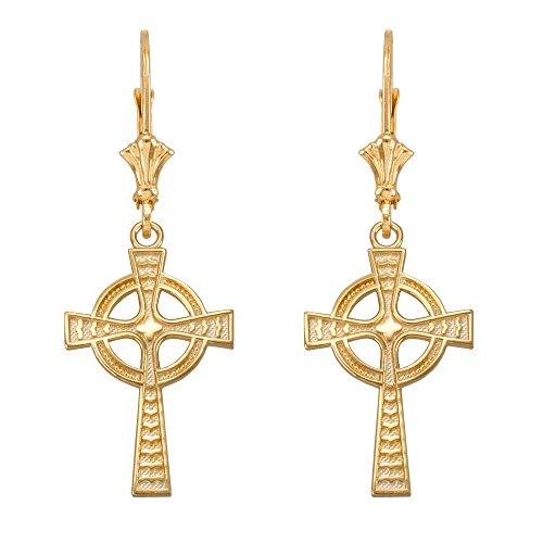 - Solid 10k Yellow Gold Celtic Cross Leverback Earrings
