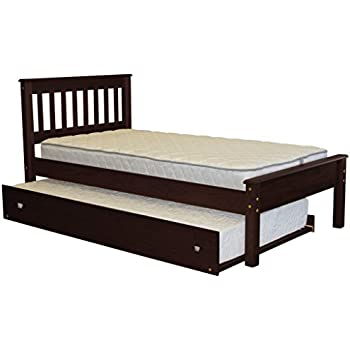 bedz king mission style twin bed with a twin trundle cappuccino
