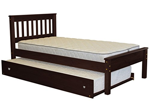 - Bedz King Mission Style Twin Bed with a Twin Trundle, Cappuccino