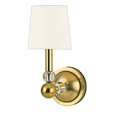 Danville 1-Light Wall Sconce - Aged Brass Finish with White Faux Silk Shade