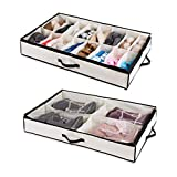 Woffit Under The Bed Shoe Organizer Fits 16 Pairs + 4 Pairs Boots - Sturdy & Breathable Materials - Underbed Storage Solution for Kids Men & Women Shoes - Great Space Saver for Your Closet!