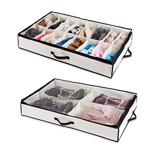 Woffit Under the Bed Shoe Organizer Fits 16 Pairs + 4 Pairs Boots – Sturdy & Breathable Materials – Underbed Storage Solution for Kids Men & Women Shoes – Great Space Saver for Your Closet! by Woffit