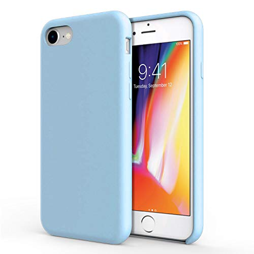 Olixar Silicone Soft Case Compatible with iPhone 8/7 - Silicone Slim Cover - Scratch Resistant - Olixar Case - Wireless Charging Compatible (Pastel Blue) - Pastel Scratch Pad
