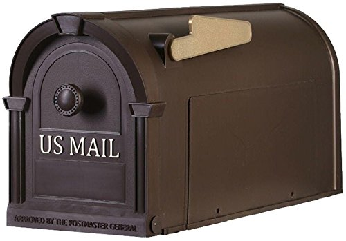 Moon Daughter Plastic Postal Pro Post-Mount Hampton Mailbox In Bronze With Gold Lettering Durable New