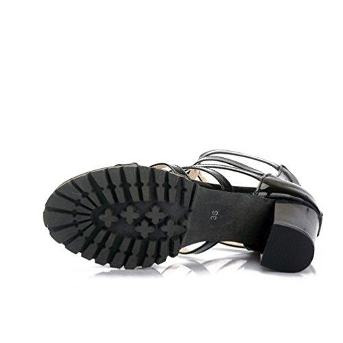 YOUJIA Mujer Casual Punta abierta Plataforma Sandalias con Talón Romanas Zapatos de gladiador Negro