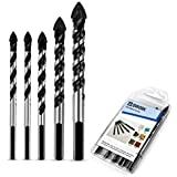 QWORK 5 Pcs Set (6, 6, 8, 10, 12mm) Multi-Material Drill Bit Set for Tile,Concrete, Brick, Glass, Plastic and Wood Tungsten Carbide Tip Best for Wall Mirror and Ceramic Tile on Concrete and Brick Wall