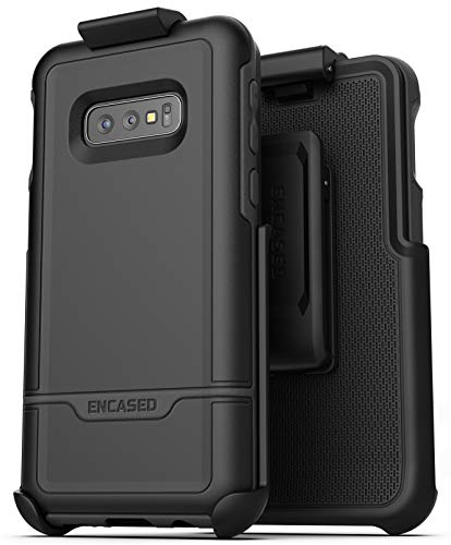 Encased Galaxy S10e Belt Clip Protective Holster Case (2019 Rebel Armor) Heavy Duty Rugged Full Body Cover w/Holder (Black) for Samsung Galaxy S10 E