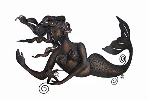 Metal Wall Sculptures Floating Mermaid Antique Bronze Finish Metal Wall Sculpture 27 X 16.5 X 1 Inches Bronze (Sculptures Mermaid)