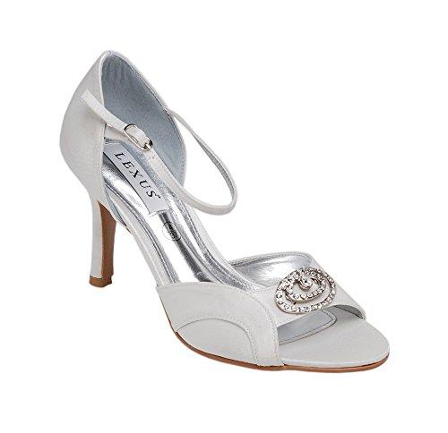 Ladies Lexus Bridal High Heel Sandal with Ankle Strap and Elegant Diamante Trim in Ivory. Ivory IDZNUpX4b
