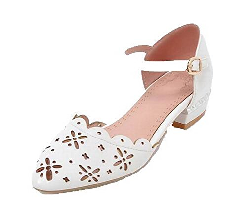 VogueZone009 Women Buckle Pu Closed-Toe Low-Heels Solid Sandals, CCALP014529 White