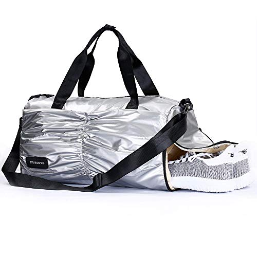 Q Four Fit Sports Duffle Bag with Shoe Compartment and Wet Pocket Water Resistent Gym Bag for Women & Men (grey)