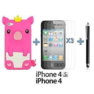 OnlineBestDigital - Piggy Style Soft Silicone Case for Apple iPhone 4S / Apple iPhone 4 - Hot Pink with 3 Screen Protectors and Stylus