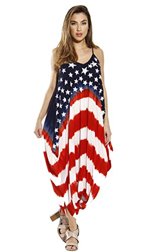 Riviera Sun 21733-RWB-3X Jumpsuit/Jumpsuits for Women (Red White And Blue Tie Dye Tank Tops)