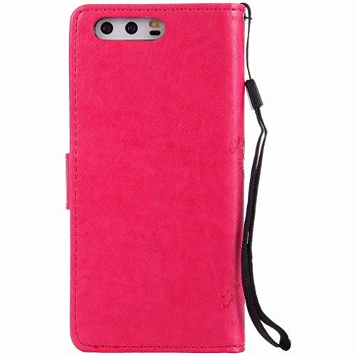 Yiizy Huawei P10 Custodia Cover, Alberi Disegno Design Sottile Flip Portafoglio PU Pelle Cuoio Copertura Shell Case Slot Schede Cavalletto Stile Libro Bumper Protettivo Borsa (Red Rose)