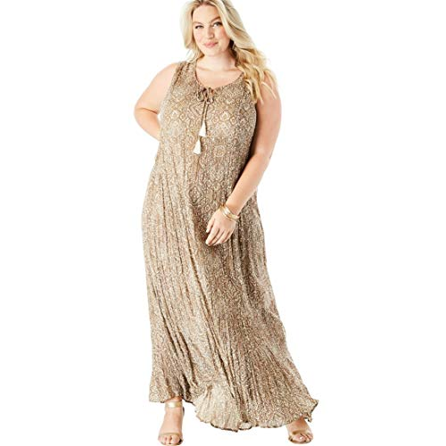 Roamans Women's Plus Size Crinkle A-Line Maxi Dress - Natural Floral Medallion, 22/24 ()
