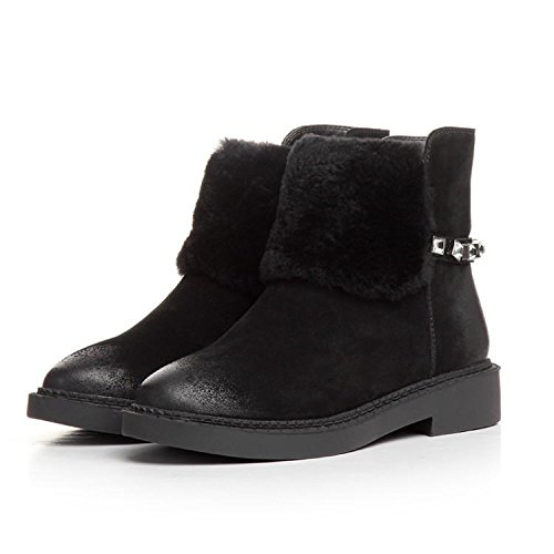 of color diamond NSXZ wax cowhide women warm BLACK 120W the boots boots Winter rubbing fqqwRXA