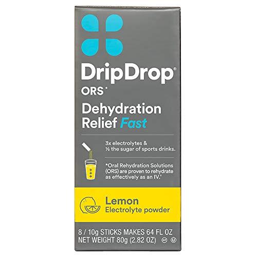 - DripDrop ORS Electrolyte Hydration Powder Sticks, Lemon, 10g, 8 Count
