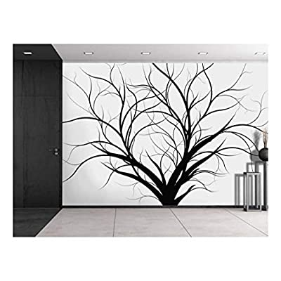 Premium Product, Charming Object of Art, Silhouette of a Black Tree with Branches on a White Background Wall Mural