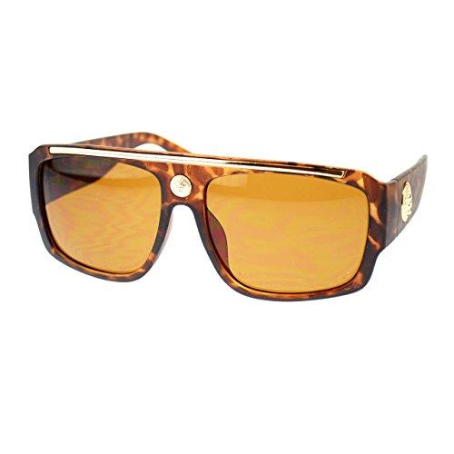 Mens Lion Coin Emblem Thick Plastic Flat Top Mobster Sunglasses - Glasses Mobster