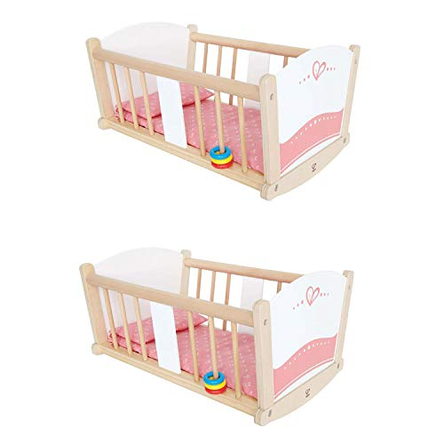 - Hape Kids Wooden Rock-A-Bye Pretend Play Sturdy Baby Doll Cradle Toy Furniture (2 Pack)