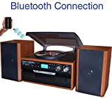 Boytone BT-24MB Bluetooth Classic Style Record Player Turntable with AM/FM Radio, CD/Cassette Player, 2 Separate Stereo Speakers, Record from Vinyl, Radio, and Cassette to MP3, SD Slot, USB, AUX.