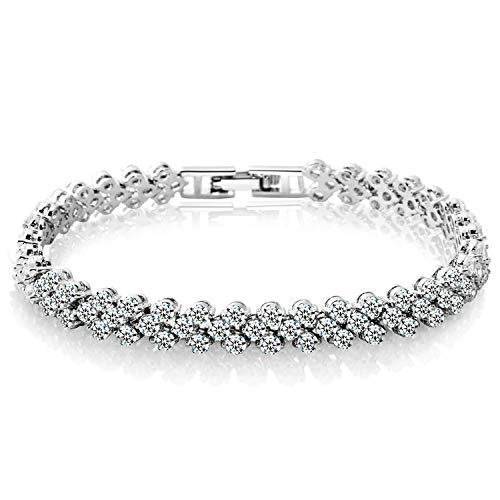 YANGLAN Zircon Crystal Bracelet Women Roman Bracelet Ring Exquisite Luxury Jewelry Diamond