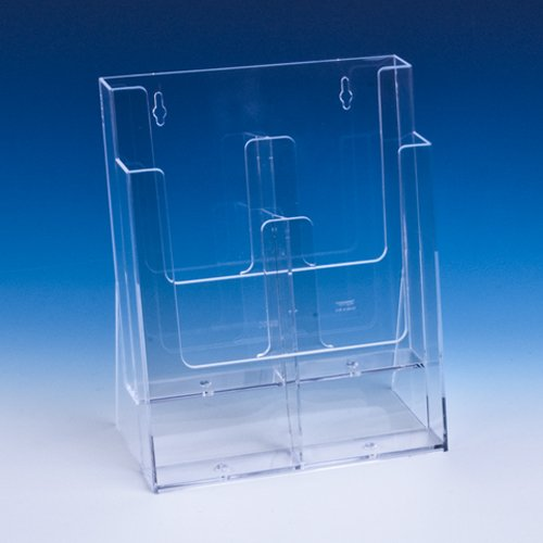taymar/® Tisch-Prospektst/änder LA-380X DIN Lang Transparent 4 F/ächer auf 2 Etagen