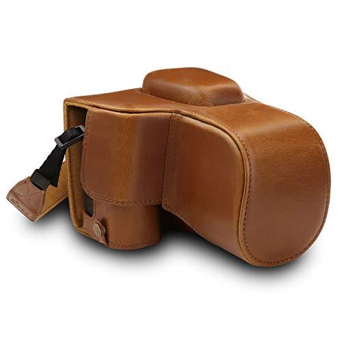 MegaGear MG1537 Nikon D3500 Ever Ready Leather Camera Case and Strap - Light Brown (Nikon D600 Camera Strap)