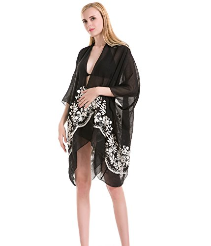 Embroidered Kimono Cardigan Beach Coverup - Sleeveless Black Spring Summer Swimsuit Cover Up