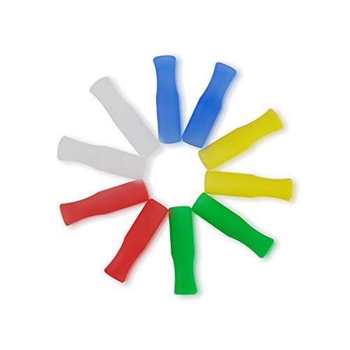 Set of 10 Multicolored Straw Caps, KISSWILL Food Grade Silicone Tips Fits for 6MM Diameter Stainless Steel Straws or Glasss Straws