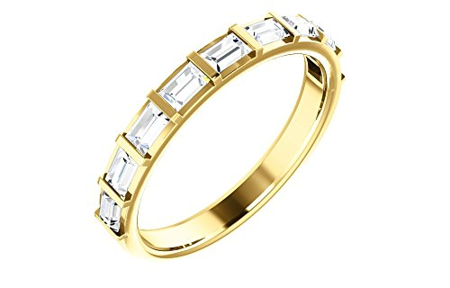 (Jewels By Lux 14K Yellow Gold 3/4 CTW Diamond Straight Baguette Anniversary Wedding Ring Band)