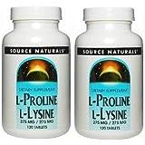 【2個セット】 [海外直送品]Source Naturalsプロリン&リジン 120粒L-Proline/L-Lysine